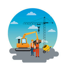 construction workers loading machine mixer vector image vector image