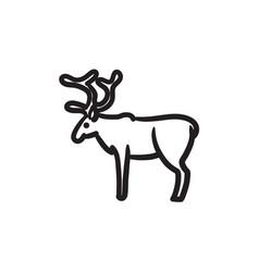 Deer sketch icon vector