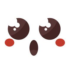 face emoticon kawaii style vector image vector image