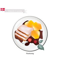 flaeskesteg or roasted pork the danish national d vector image