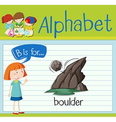 Flashcard alphabet b is for boulder vector