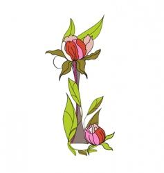 floral font 2 letter i vector image vector image