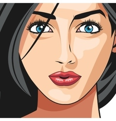 Glamour girl face black hair lipstick vector