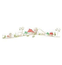 Houses on landscape vector