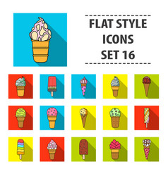 ice cream set icons in flat style big collection vector image