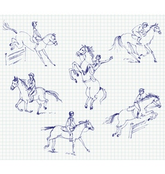 Jockey riding a horse set hand-drawn vector