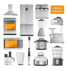 kitchen electric appliances big set vector image vector image