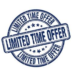 Limited time offer blue grunge round vintage vector
