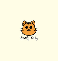 lovely kitty cute cat logo design vector image vector image