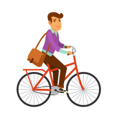 Man in modern clothes with big leather bag rides vector