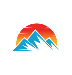 mountain icon nature sun logo image vector image