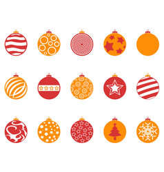 orange and red color christmas ball icons set vector image