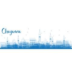 Outline cheyenne wyoming skyline vector