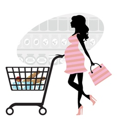 Pregnant woman shopping vector