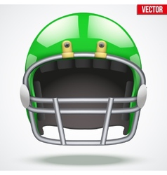 Realistic Green American football helmet Front vector image