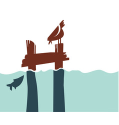 Simple retro-style pier with bird and fish vector