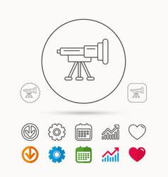 Telescope icon spyglass sign vector