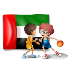 The flag of UAE at the back of the basketball vector image vector image