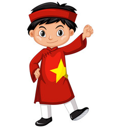 vietnam boy in red costume vector image vector image