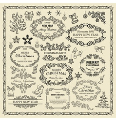 vintage Christmas design elements vector image vector image