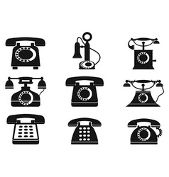 vintage telephone icons vector image vector image