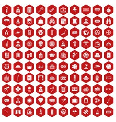 100 adult games icons hexagon red vector