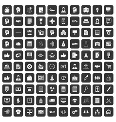 100 business strategy icons set black vector