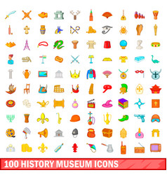 100 history museum icons set cartoon style vector