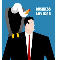 Business advisor vulture sits on shoulder of vector