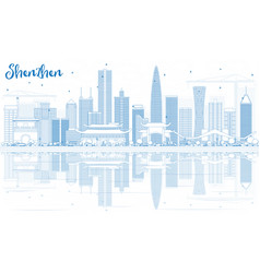 Outline shenzhen skyline with blue buildings and vector