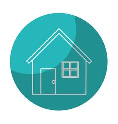 Sticker nice house with door window and roof vector