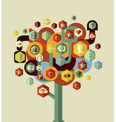 Colorful social network tree vector