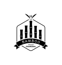 Bamboo activated charcoal with bamboo tree logo vector