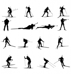 Biathlon silhouette set vector