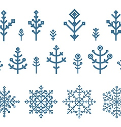 Different snowflake elements set Design template vector image
