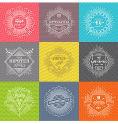 Set of line signs and emblems with hipster symbols vector