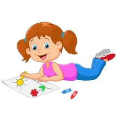 Cartoon small beautiful girl paints on paper vector