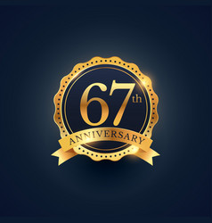 67th anniversary celebration badge label in vector