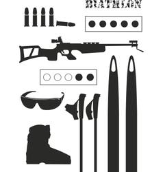 set of biathlon equipment vector image