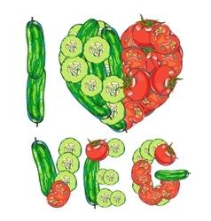I love vegetables vector image