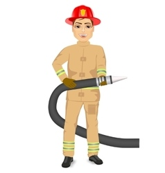 Happy fireman holding hose vector