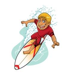 Cartoon surfer action vector