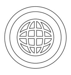Earth globe diagram inside circle icon vector