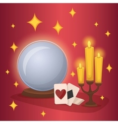 Crystal ball and fortunetelling cards vector