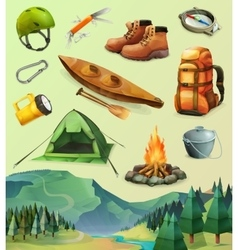 Camp icons vector image vector image