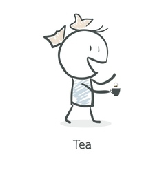 Cartoon girl drinking tea vector image vector image