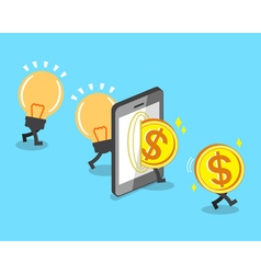 Change bulb idea to money with smartphone vector image vector image