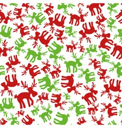 Christmas red and green color reindeer seamless vector