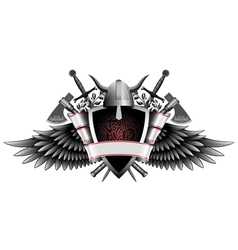 Coat of arms with weapon and wings vector