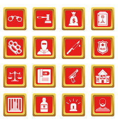 Crime and punishment icons set red vector